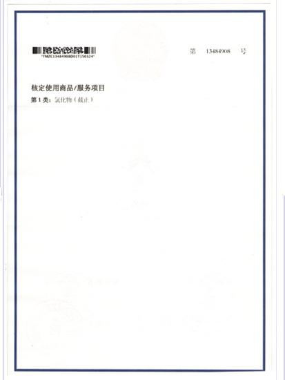 核定使用商品/服务项目
